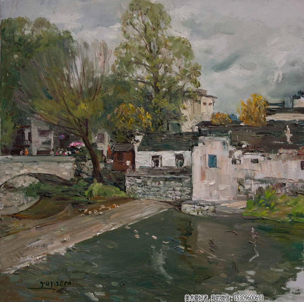 宏村油画风景