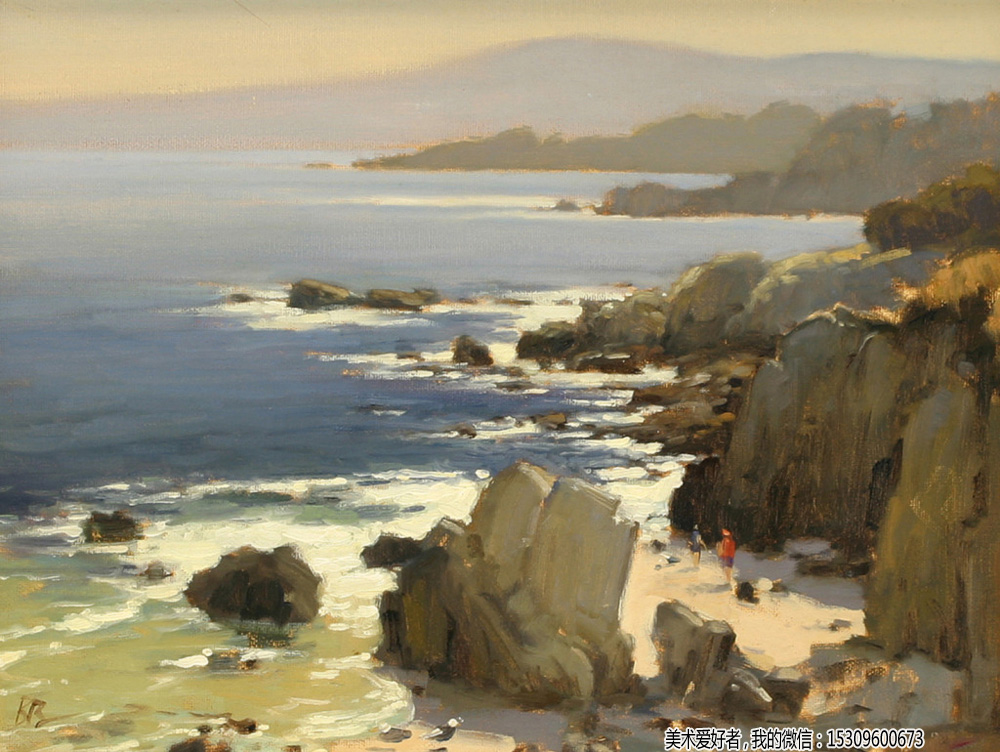 海边油画风景