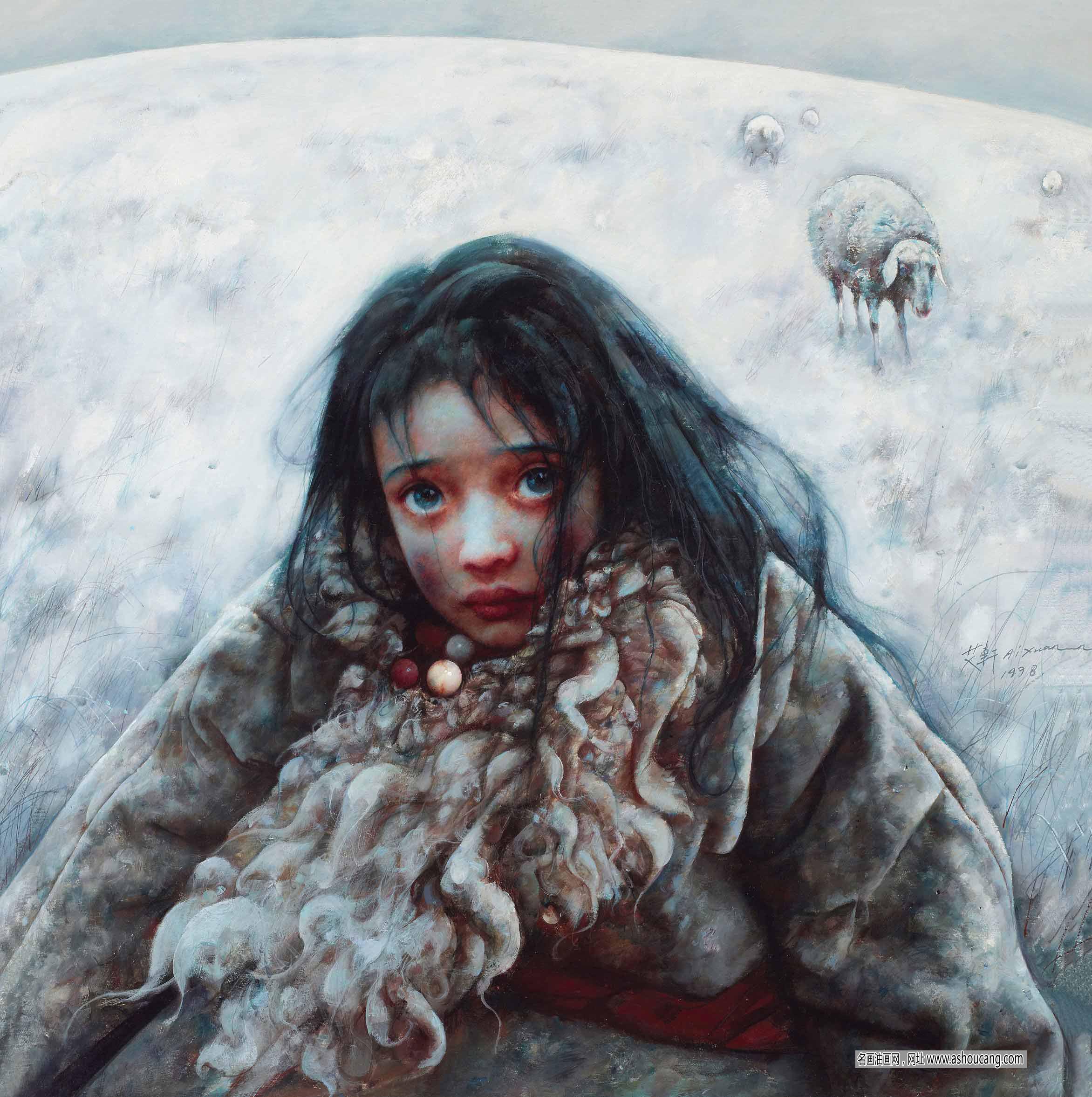 艾轩油画人物作品《藏族小姑娘》欣赏 高清大图