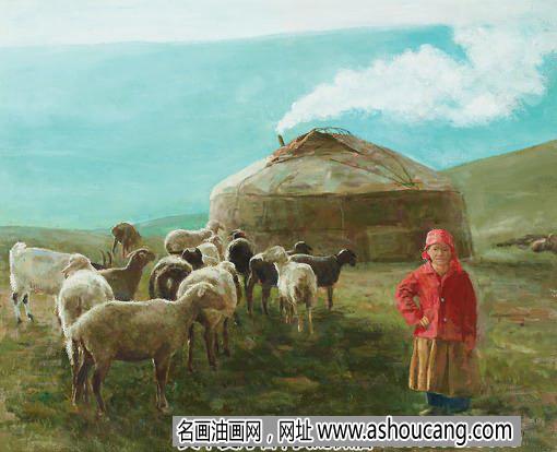 徐唯辛风景油画作品《藏民风情》欣赏