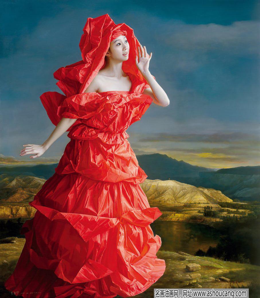 曾传兴油画人物《红纸新娘》欣赏