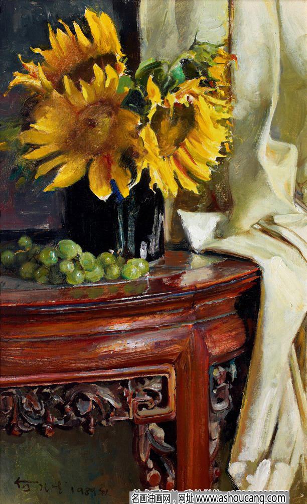 何孔德静物油画《向日葵》欣赏
