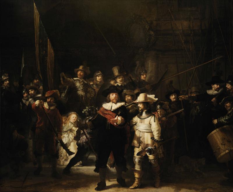 伦勃朗著名作品 油画《夜巡》赏析 高清大图