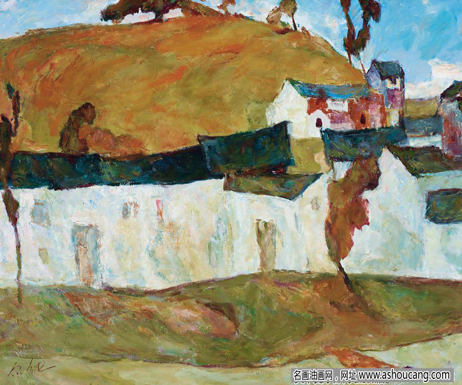 罗尔纯风景油画作品《河岸小镇》赏析