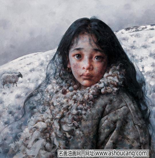 艾轩西藏油画人物作品《寂静的雪原》欣赏