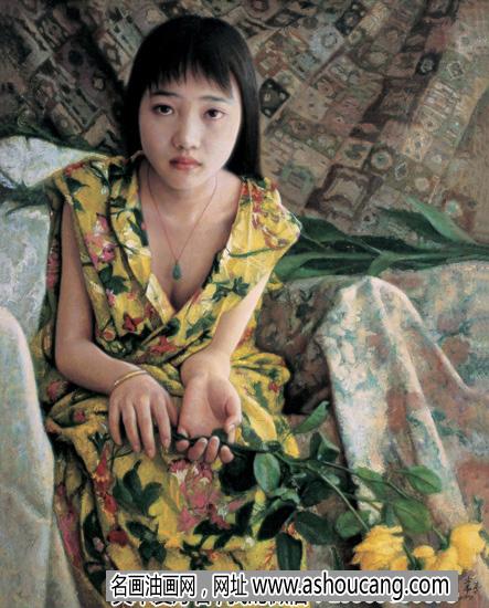 常青人物油画作品《凝视》欣赏及拍卖成交价