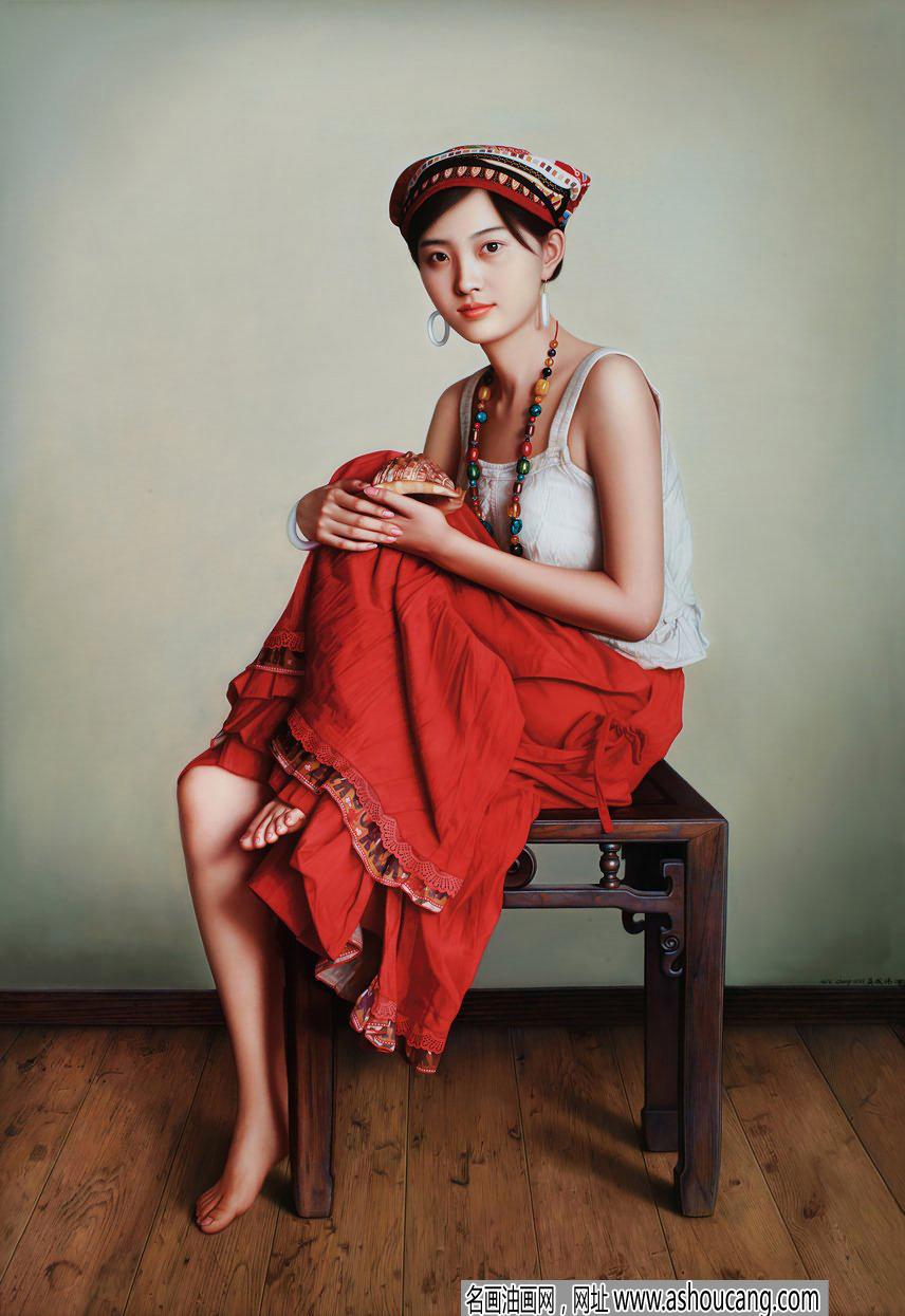 吴成伟人物油画作品《拿海螺的少女》欣赏