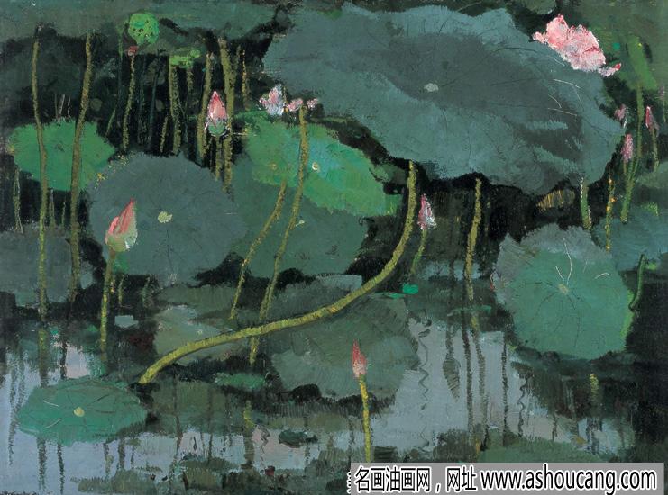 吴冠中油画风景作品《红莲》欣赏及拍卖成交价