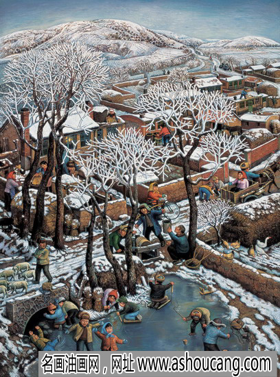 陈树中风景油画《野草滩的暖冬》赏析
