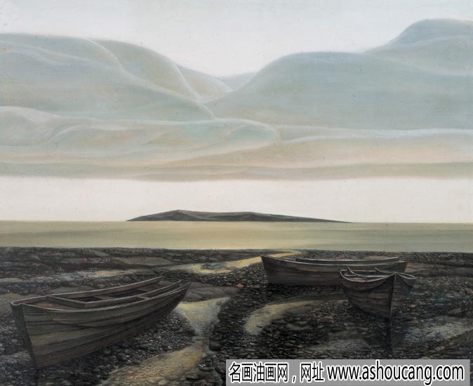 胡建成风景油画作品《海韵》欣赏