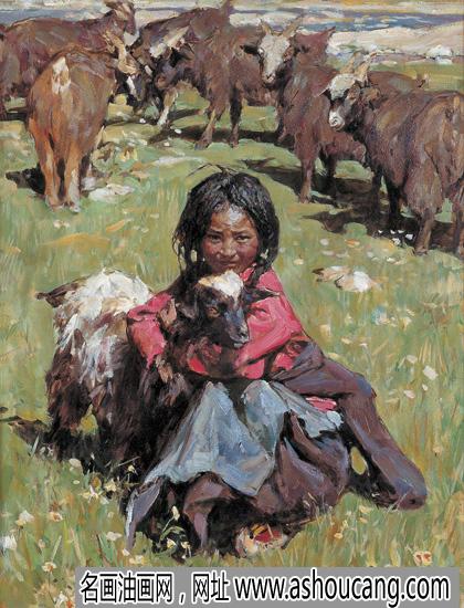 潘世勋油画人物作品《牧羊女》欣赏