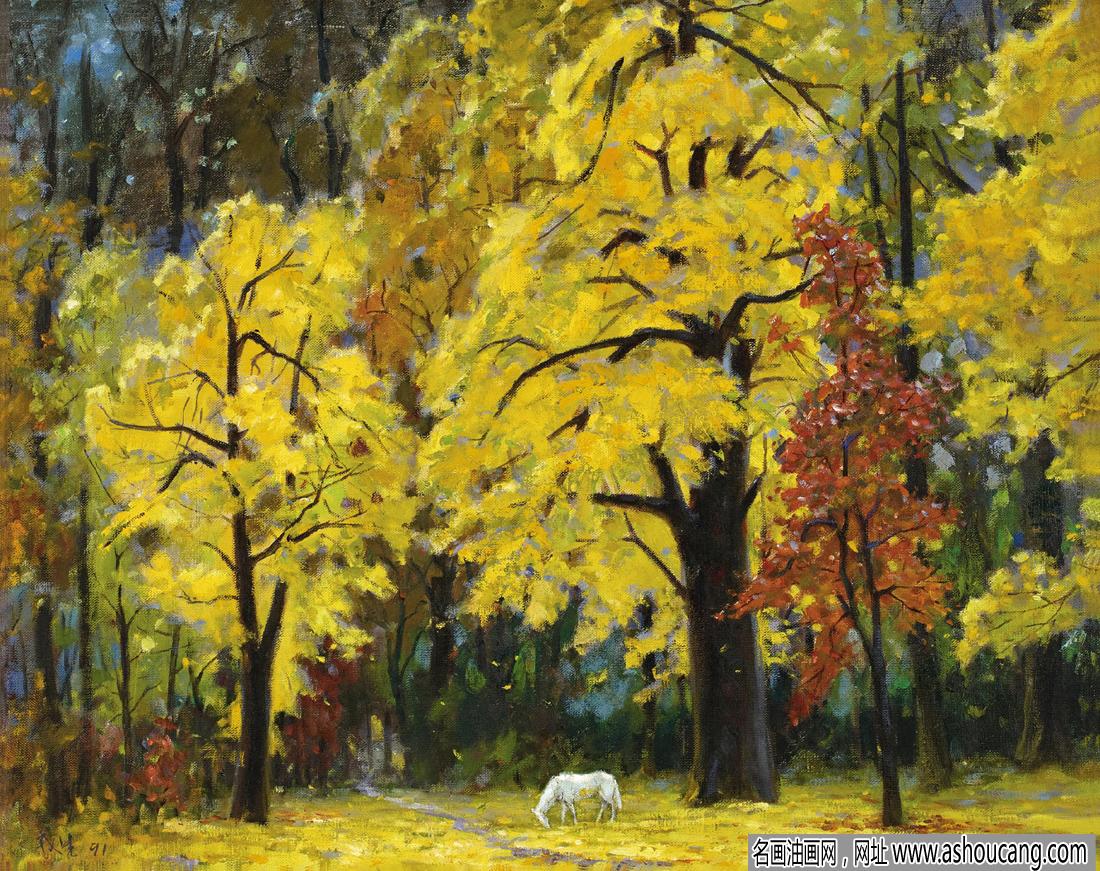 尹戎生风景油画《金色的秋天》欣赏