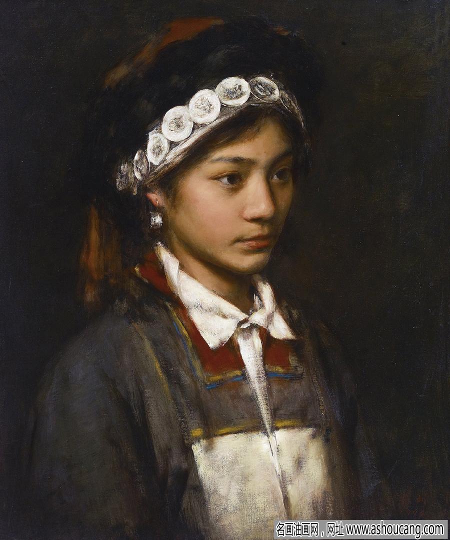 画家张利签名_张利人物油画《少女肖像》欣赏-名画油画网