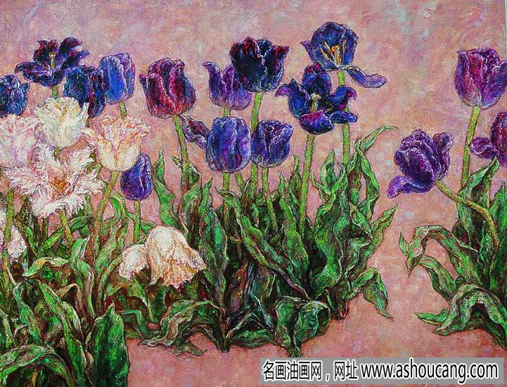 雷双油画花卉《夜皇后》欣赏
