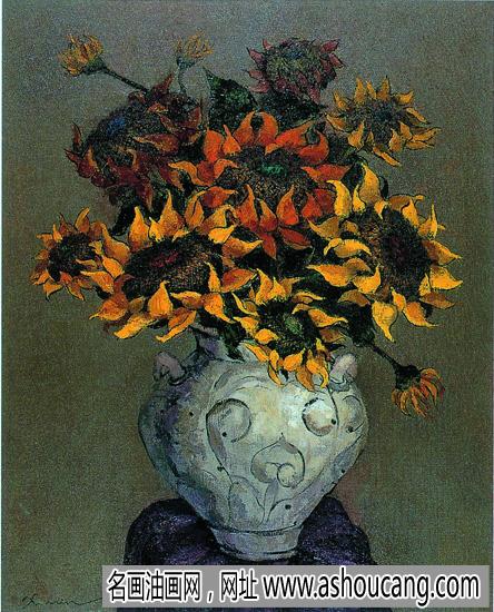 许敏花卉油画《金色的收获》欣赏