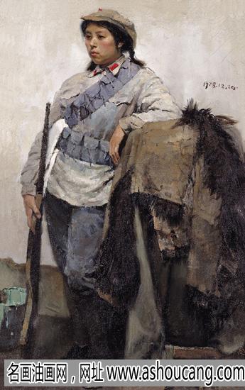 陈丹青人物油画《穿红军军装的女模特》赏析