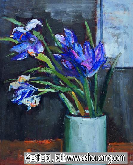 关良油画花卉《鸢尾花》欣赏
