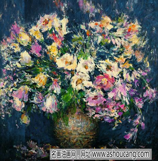 邵晶坤静物油画《插花的瓶子》欣赏