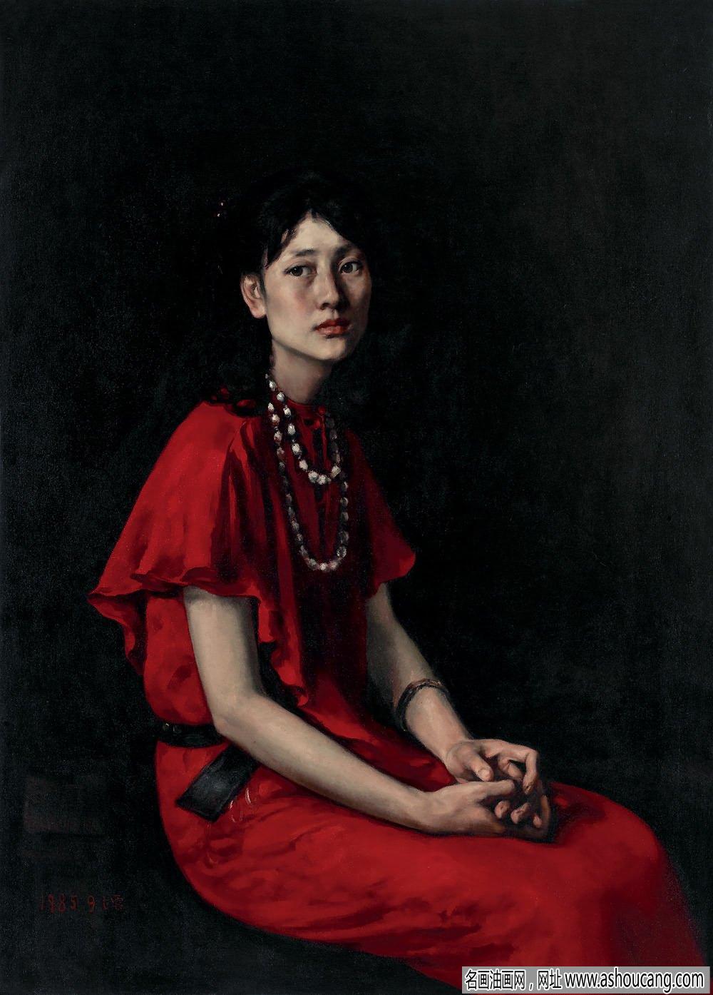 杨飞云人物油画作品《红裙子》欣赏