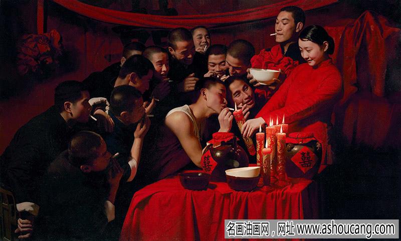 王沂东油画 结婚题材《新郎、新娘》欣赏