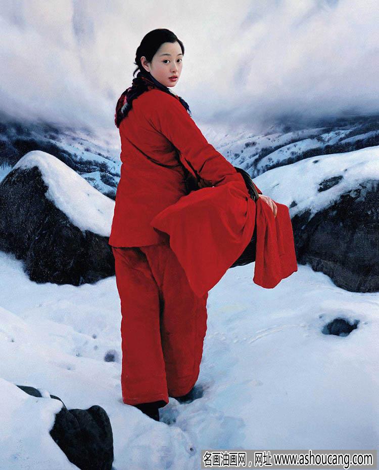 王沂东油画作品《雪中挎篮子的红衣女子》欣赏