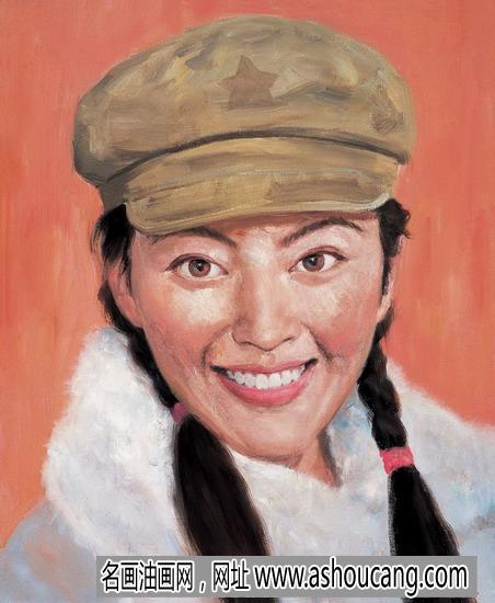 祁志龙人物油画作品《中国姑娘》欣赏