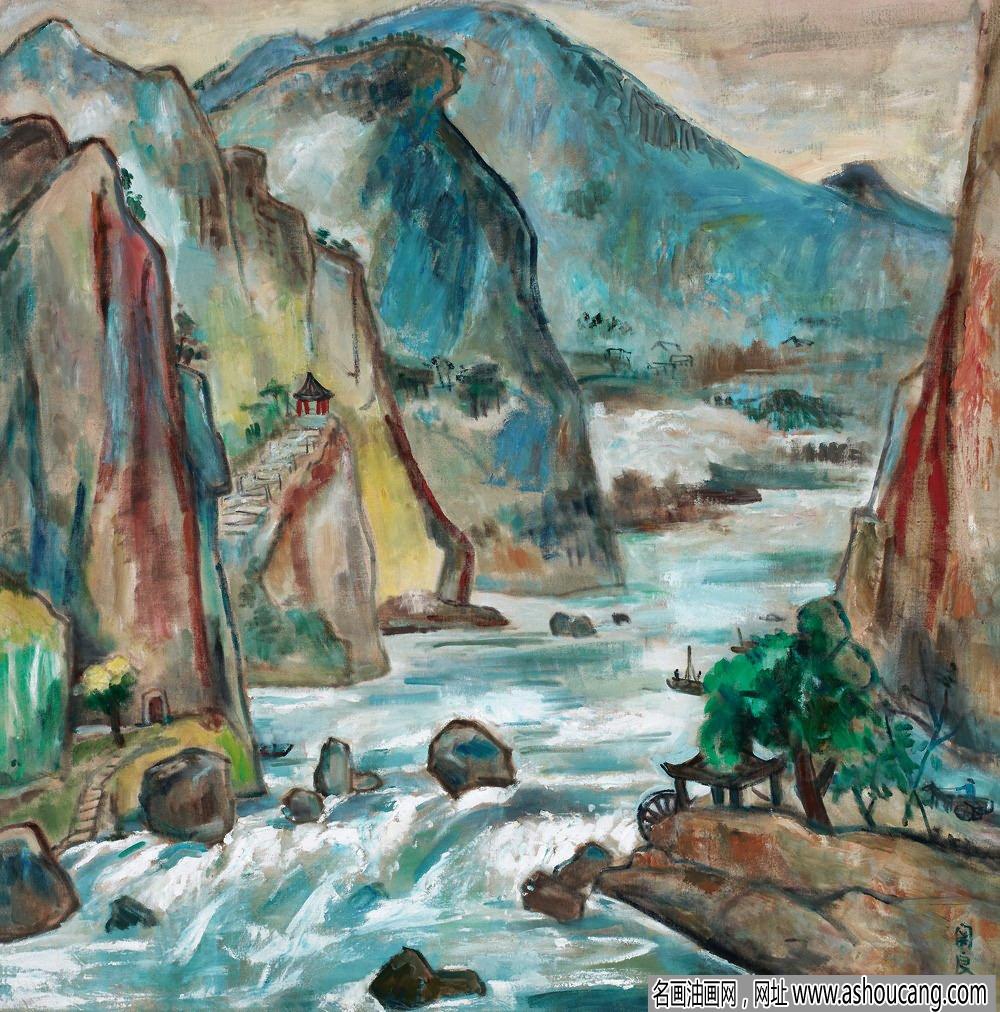 关良油画风景《石门》欣赏