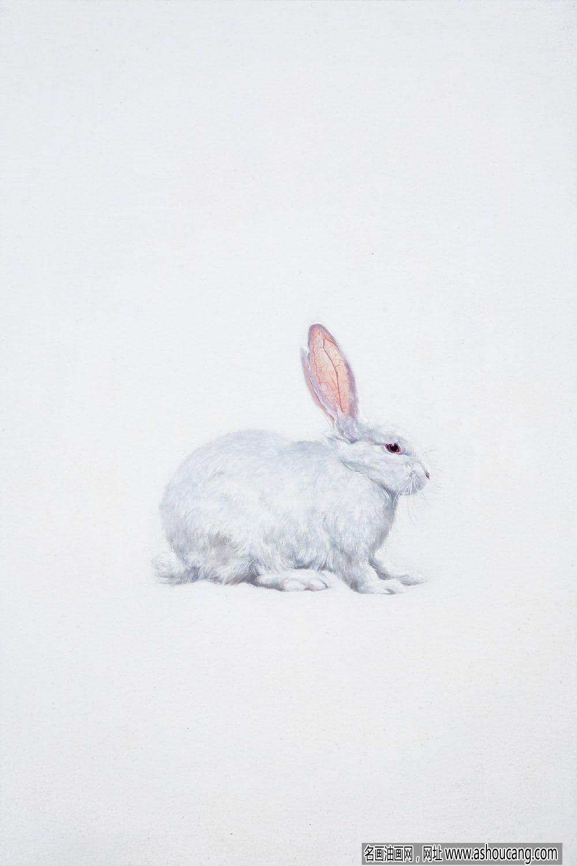 胡文丹油画作品《兔子》欣赏