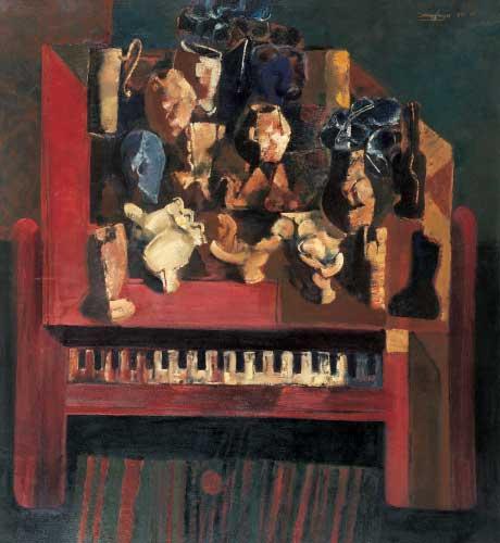 俞晓夫静物油画《拍卖古钢琴系列之一》欣赏