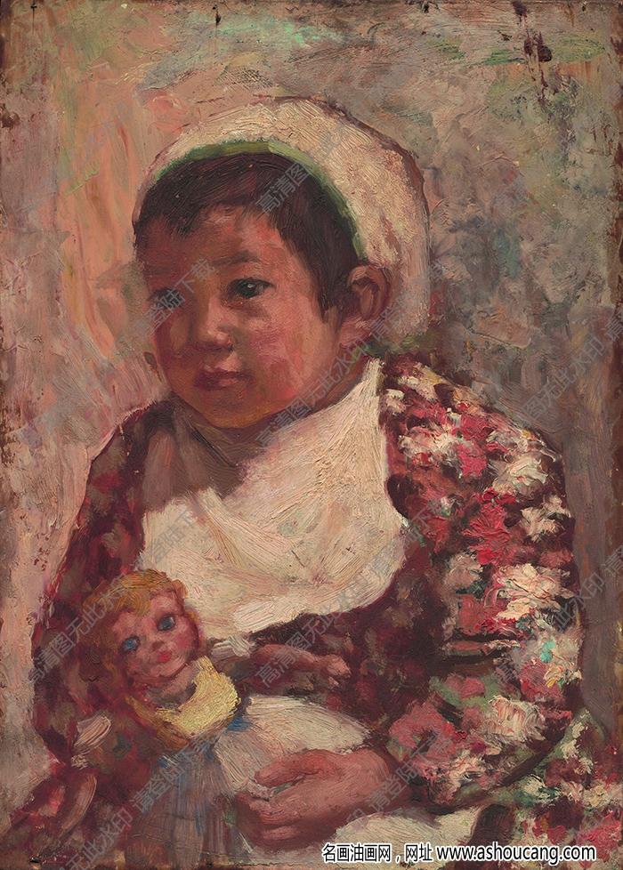 吴作人 油画《小孩肖像》高清大图9下载