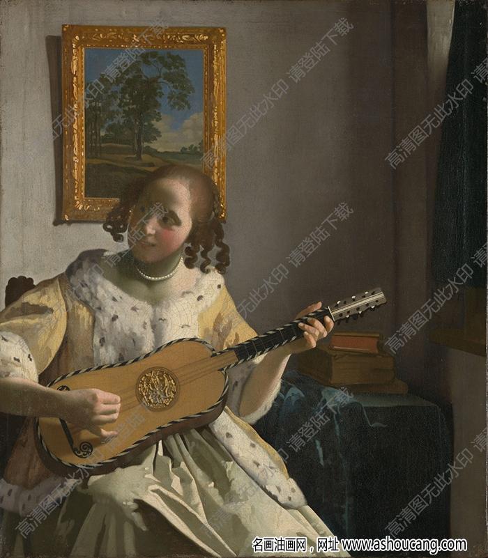 维米尔 油画《玩吉他的少女》高清大图41下载