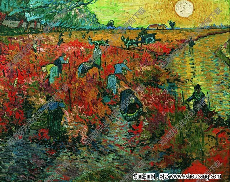 梵高 油画《阿尔的红色葡萄园》高清大图135下载