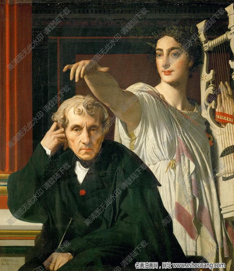 安格尔 油画《凯鲁比尼与缪斯女神》高清大图41下载