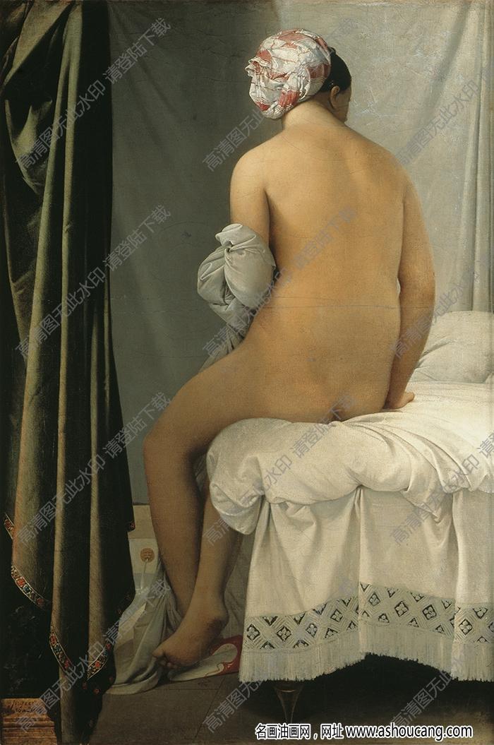 安格尔 油画《浴女》高清大图43下载