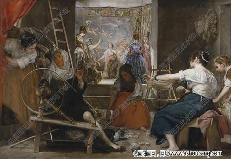 委拉斯开兹 名画《纺纱女》高清大图3下载