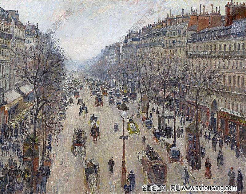 毕沙罗 名画《蒙马特大街》高清大图46下载