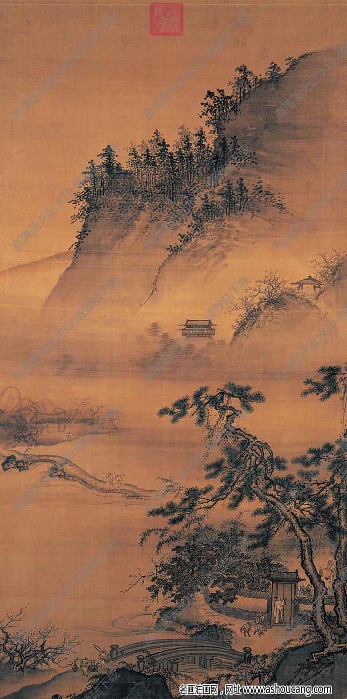 宋 佚名《春游晚归图》国画高清大图下载