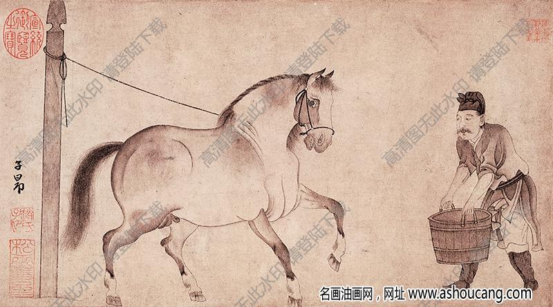元 赵孟頫《饮马图》国画高清大图下载
