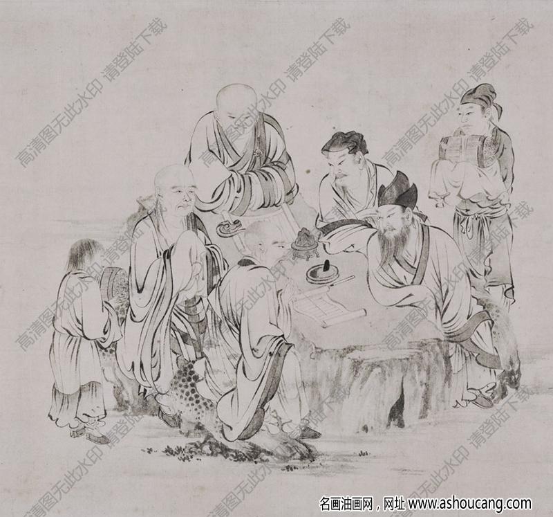 南宋 李公麟《白莲社图》国画高清大图下载