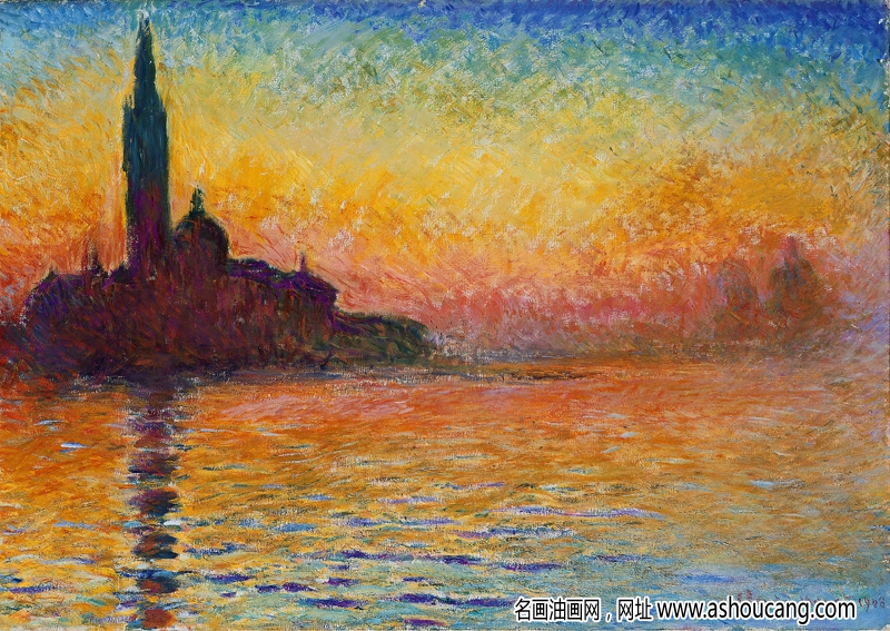 莫奈油画写生名作《日落》赏析