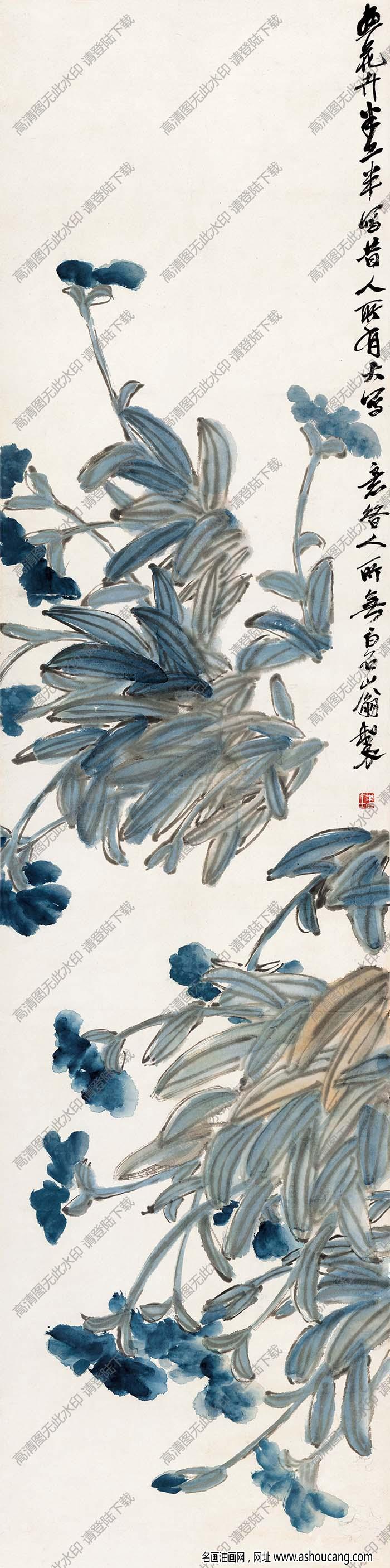 齐白石 国画《蝴蝶兰图》高清大图下载