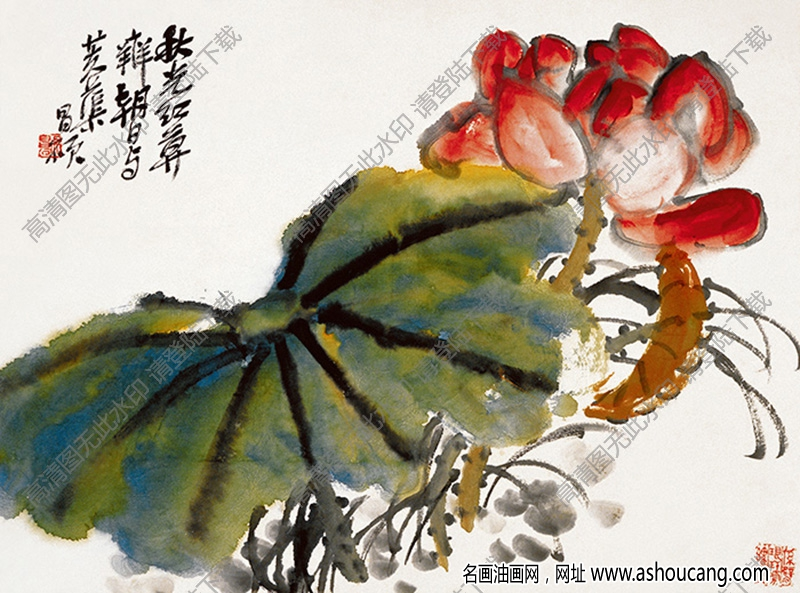 吴昌硕 国画《荷花图》高清大图下载