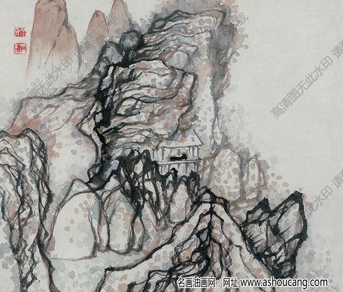 明 石涛《设色山水》-7国画高清大图下载