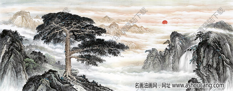 国画名作《黄山迎客松》高清大图下载