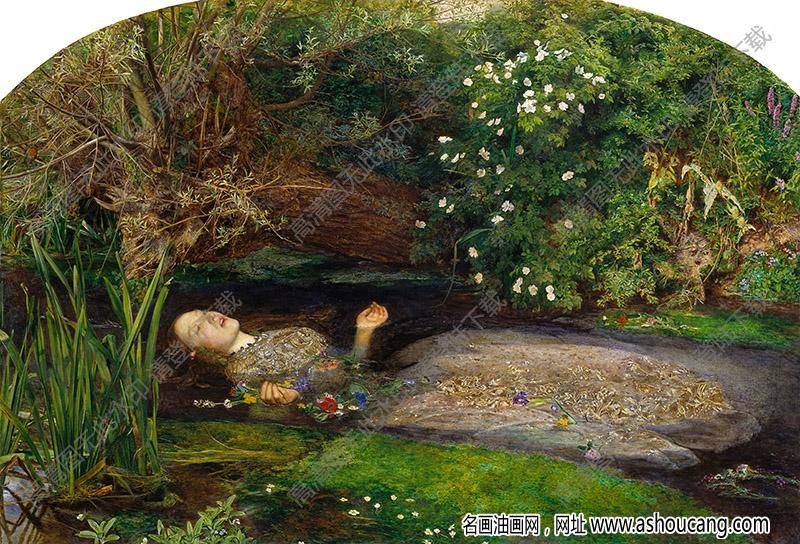 米莱斯油画《奥菲丽娅》高清大图下载