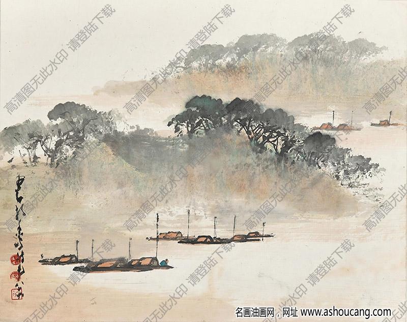 赵少昂国画作品 渔港 高清下载