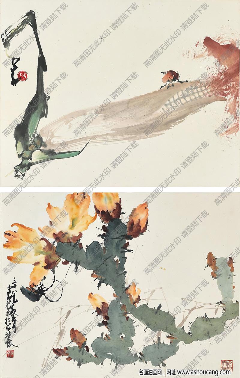 赵少昂国画作品 玉米小虫 花虫 高清下载