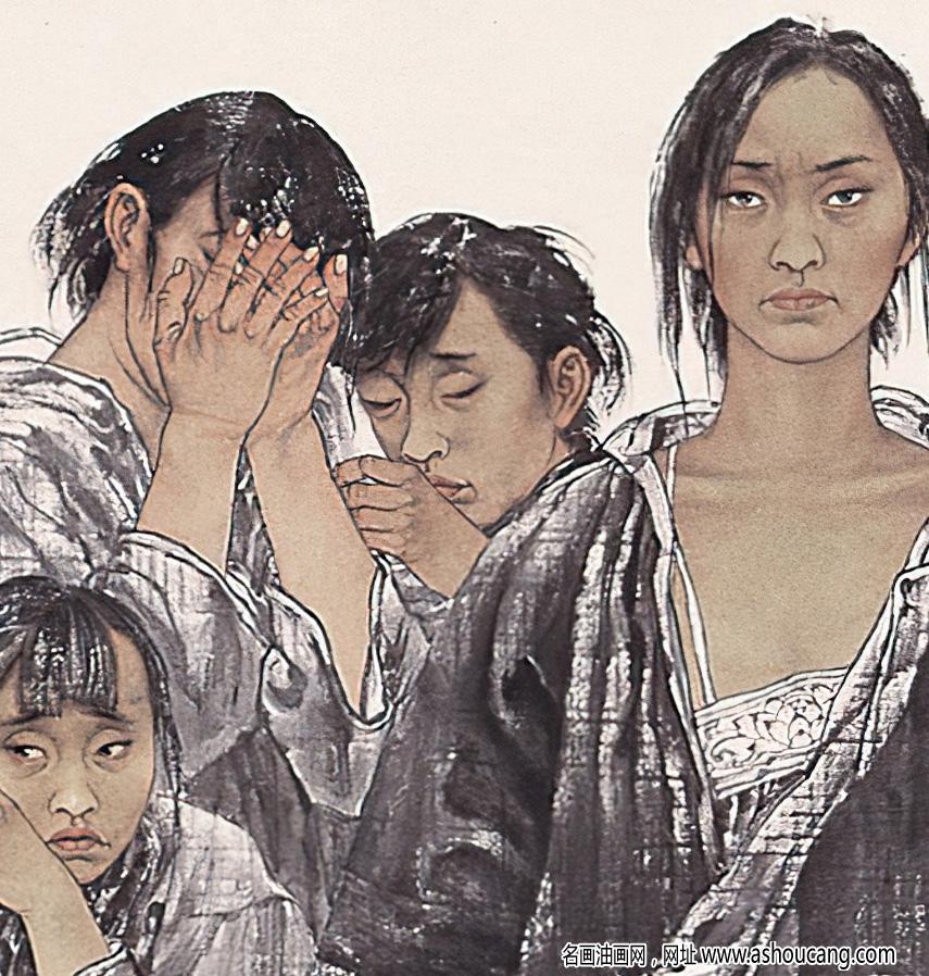 于文江国画 抗日战争中受难的中国女性 高清大图下载