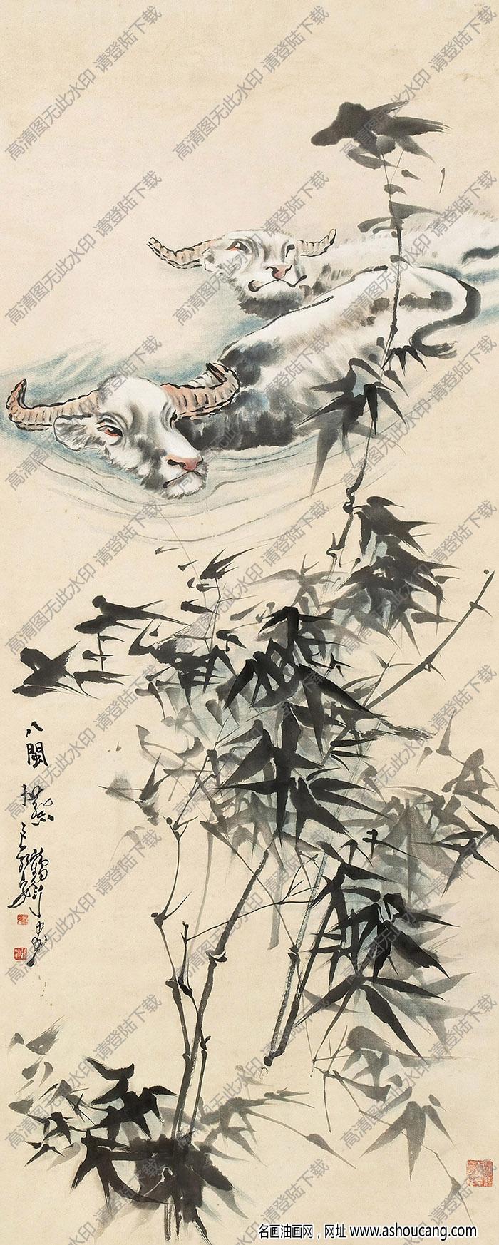 蔡鹤汀国画作品 双牛图 高清下载