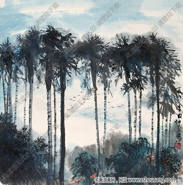 朱乃正作品 椰树 高清大图下载